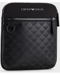 Emporio Armani Flat Nylon Shoulder Bag With Monogrammed Eagle Insert - Black