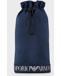 Emporio Armani Sac en nylon avec cordon de serrage et logo - Bleu