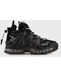 Emporio Armani Sneakers chunky en nylon avec détails caoutchouc et en cuir suédé - Noir