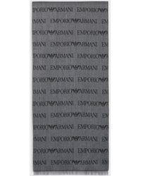 Emporio Armani Écharpe en laine mélangée avec logo jacquard - Gris