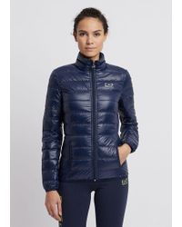 Emporio Armani Puffer Jacket With Full-length Zip Closure - Blue