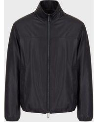 Emporio Armani Leather Jackets - Blue