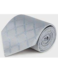 Emporio Armani Pure Silk Scarf With Logo Pattern - Gray