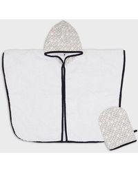 Emporio Armani Conjunto de baño con albornoz y guante - Blanco