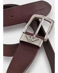 Emporio Armani Tumbled Leather Belt - Marron