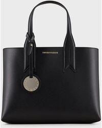 Emporio Armani Full-grain Handbag With Charm And Silkscreen Logo - Black