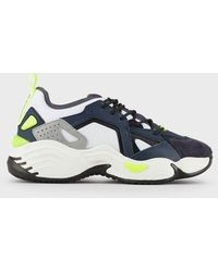 Emporio Armani Leather Sneakers With Neoprene Inserts - Blue