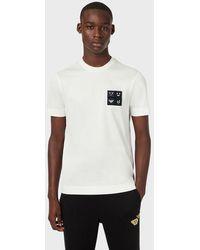 Emporio Armani T-shirt en jersey avec écussons Emoji - Blanc