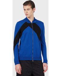 Emporio Armani Cardigan entièrement zippé en laine vierge avec bande contrastée - Bleu
