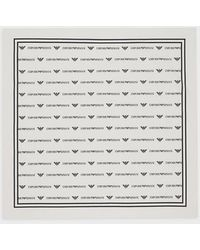 Emporio Armani Bandana en coton avec motif logo - Blanc