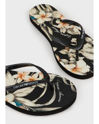 Emporio Armani Floral-print Flip-flops - Black