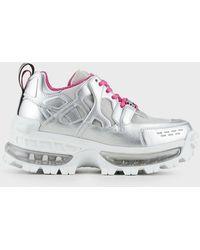 Emporio Armani Sneakers chunky en similicuir nappa lamé et mesh - Métallisé