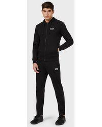 Emporio Armani Survêtement en coton avec sweat-shirt à capuche - Noir