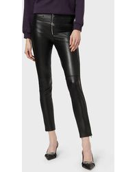 Emporio Armani Leather Pants - Black