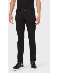 Emporio Armani Jeans J06 in Slim Fit aus Gabardine-Stretch - Schwarz