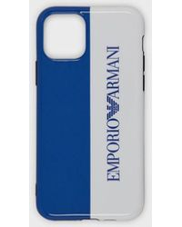Emporio Armani Cover iPhone 11 Pro con logo - Blu