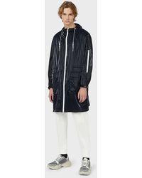 Emporio Armani Glossy Nylon, Hooded Trench Coat With Logo - Multicolour