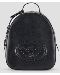 Emporio Armani Embossed Logo Backpack - Black
