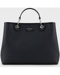 Emporio Armani Shopper MyEA Bag mit Allover-Logo - Schwarz