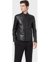 Emporio Armani Biker-collar Leather Jacket - Black