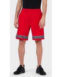 Emporio Armani Jersey Fleece Shorts With Logo Band - Red