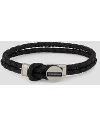Emporio Armani Bracelet en cuir avec logo - Noir