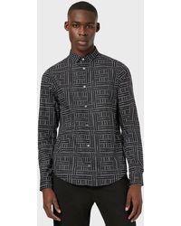 Emporio Armani Poplin Shirt With All-over Logo - Black