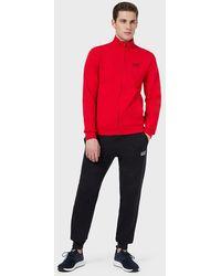 Emporio Armani Trainingsanzug aus Baumwolle mit Sweatjacke mit Reißverschluss - Rot