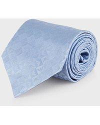 Emporio Armani Silk Tie With Jacquard Monogram - Blue
