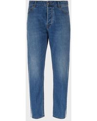 Emporio Armani Tapered Fit J77 Denim Jeans With Side Bands - Blue