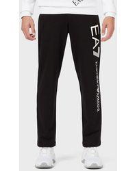 Emporio Armani Pantalon de jogging en coton avec logo vertical - Noir