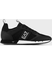 Emporio Armani - Sneaker Black&White Laces aus Mesh mit Metall-Logos an der Sohle - Lyst