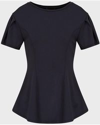 Emporio Armani Flared Top In Milano Stitch Fabric With Sleeve Darts - Blue