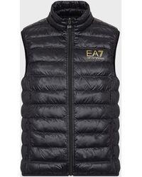Emporio Armani Sleeveless Puffer Jacket With Full-length Zip - Black