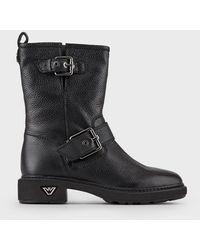 Emporio Armani Leather Ankle Boots - Black