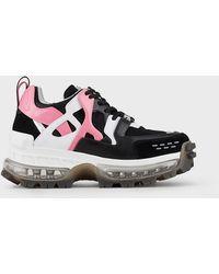 Emporio Armani Sneakers chunky in pelle e mesh - Nero