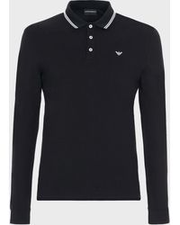 Emporio Armani Black Logo Print Long Sleeve Polo Shirt