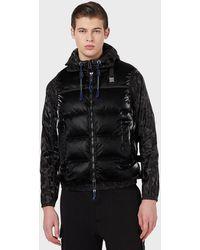 Emporio Armani Blouson en nylon camouflage avec haut sans manches rembourré - Noir