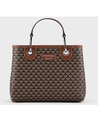 Emporio Armani Petit sac cabas MyEA Bag avec logo all over - Marron