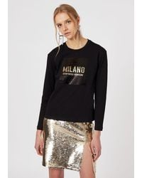 Emporio Armani Jersey Sweater With A Dual-sided Sequin Logo - Black