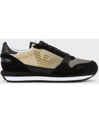 Emporio Armani Sneakers à paillettes avec empiècements en cuir suédé - Noir