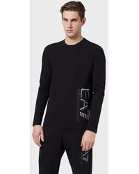 Emporio Armani Long-sleeved T-shirt With Logo At The Side - Black