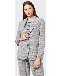 Emporio Armani Veste à simple boutonnage en tissu pied-de-poule - Gris