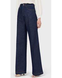 Emporio Armani Jeans J14 modello palazzo regular fit in denim misto lino con piega - Blu