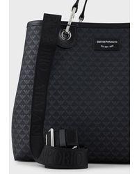 Emporio Armani Sac cabas MyEA Bag modèle moyen logo all over - Noir