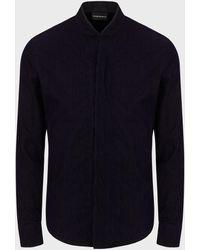 Emporio Armani Double Guru Collar Shirt With Flocked Print - Blue