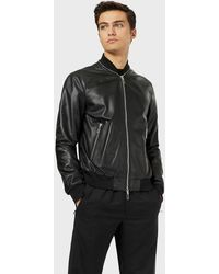 Emporio Armani Leather Jacket - Black