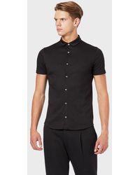 Emporio Armani Chemise à manches courtes en jersey de coton - Noir