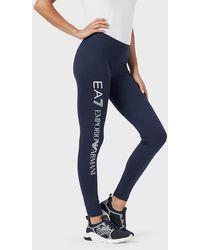 Emporio Armani Leggings stretch con maxi-logo verticale - Blu