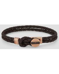 Emporio Armani Brown Signature Medallion And Woven Leather Men's Bracelet